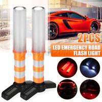 2x LED Emergency Road Flash Flares Roadside Beacon Strobe Warning Light Lamp