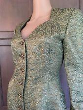 NOS Vtg HANAE MORI BOUTIQUE Green SILK Metallic Gold BROCADE Evening Dress XS/S