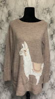 LC Lauren Conrad Size M Pinkish Brown Knit Sparkly Pullover Sweater Alpaca Theme