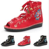 Ladies Embroidery Floral Ankle Boots Lace Up Ethnic Flats Peep Toe Canvas Shoes