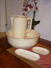 Waschtischgarnitur, Waschtischset mit Schüssel Kanne Seifenschale Rasiererschale