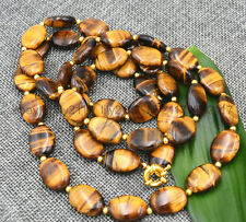 36inch beautiful natural yellow tigers Eye 13x18mm oval gemstone beads necklace