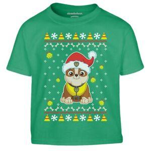 Paw Patrol Weihnachtspullover Rubble Geschenk Jungen Kinder Jungen T-Shirt