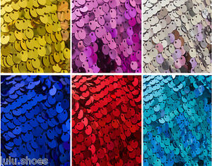 9mm SEQUIN Fabric material, 1 way stretch /130cm wide / Glitter Sequins pink red