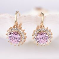 Lady Party Round Pink Cubic Zirconia Gemstone Gold Flower Dangle Earrings 0.6""