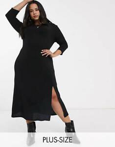 BNWT River Island Plus Long Sleeve Cosy Midi Dress Black Size 20 Eu 46 Us 16
