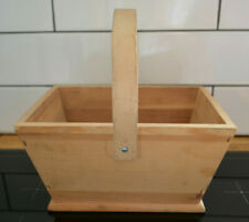 Medium small wooden basket container solid wood wooden box with handle carrier