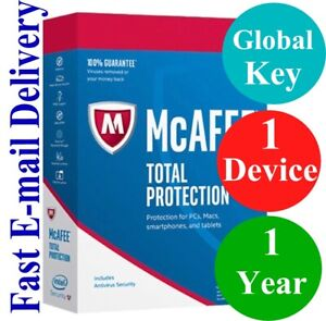 McAfee Total Protection 1 DEVICE / 1 YEAR (Unique Global Key Code) 2021 NO CD!!!