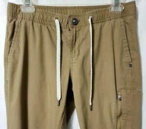 Vuori Crop Pants S Khaki Ripstop Drawstring Slim Fit Zip POCKET Climb Hike Camp