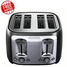 Black 4 Slice Toaster Black+Decker Extra Wide Slots Best Bagel Toast Cooker New