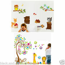 Wall Art Animals Trees Owl Lion Removable Wall Decal Sticker Baby Nursery Decor
