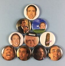 """Nicolas Cage 1"""" Button Pin Lot Famous Actor Icon Silly The Rock Raising Arizona"""