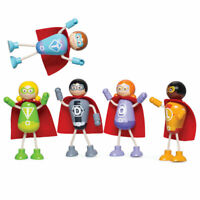 Tidlo Wooden Superhero Mini Figure Pack Playset Accessories