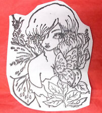 Green woods Ching Chou Kuik Butterfly lady rubber stamp unmounted stamps fantasy