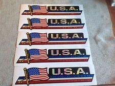 "Set of 5 U.S.A. American Flag Bumper Sticker 3""X12"" - Rainbow Look - Free Ship"
