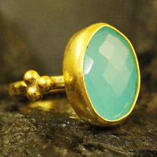 Handmade Hammered Designer Oval Chalcedony Ring Gold over 925K Sterling Silver