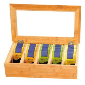 KESPER Teebox Teekiste Tee Teebeutelbox Tee Aufbewahrungsbox Kapsel-Box Holzbox
