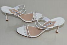NEW Manolo Blahnik MULUCA PVC Sandals Patent White Slide Heels Shoes 40.5