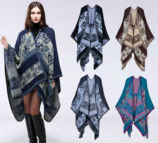 Luxury Celeb Cashmere Like Poncho Blanket Wrap Shawl Cape Amice Floral Warm Chic