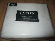 New* Ralph Lauren King Sheet Set Cotton Sateen Dunham $115 Rv Solid Grey Silver