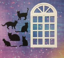 NEW ===== 3 X FEMALE THEMED ARCHED WINDOW ROOM SCENES Card making toppers