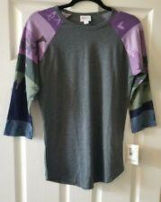 LuLaRoe Randy, S, Gray with Purple Sleeves- Slight Halloween Theme- NWT