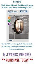 STATUS - Wall Mount Black Bulkhead Lamp - Turin 12w CFL/42w Halogen E27 - IP44