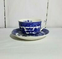 Vintage Blue Willow Cup and Saucer Set Japan