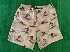 Vintage Polo Sport Swim Shorts Trunk Brown Surfers Size M Full Print
