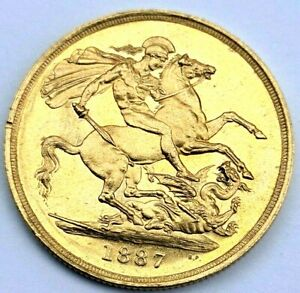 1887 Gold Proof Like Double Sovereign Coin Rare