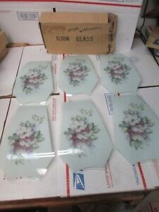 OK LIGHTING TOUCH LAMP REPLACEMENT GLASS PANELS SET(6) 638-WPW PURPLE WILDFLOWER