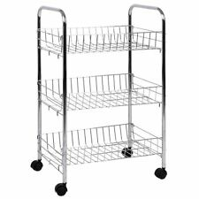 3 Tier Storage Trolley Cart Portable Stand Fruit Vegetable Food Chrome Kitchen