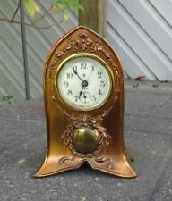 Antique Ansonia Art Nouveau 8 Day Mantle Clock Spelter Brass Finish c1900