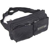 Trendy men's durable nylon waist bag multi-pocket great quality fanny pack black