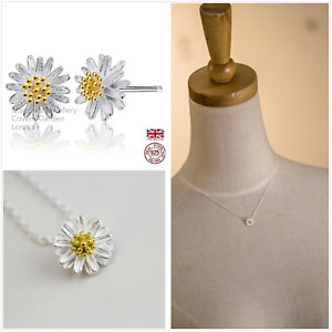 UK Sterling Silver Daisy Jewellery Set Free Gift Boxes