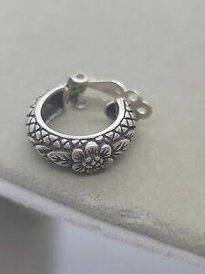 Stephen Dweck Sterling Silver Floral Leaf Quilted Clip-On Hoop Earring SINGLE