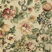 Vintage TPSA Decor Fabric 2.75 yds x 54 Floral Fruit Upholstery Drapery New