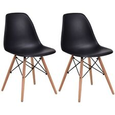 2Pc/Set Black Armless Wood Legs Dining Side Chairs Seat w/Plastic Room Furniture