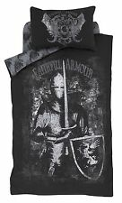 Double Boys Valiant Knight Duvet Cover Set Dark Monochrome Design.