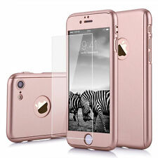 Hybrid 360° Ultra thin Hard PC Tempered Glass Case +Skin Cover For iPhone 7 4.7""