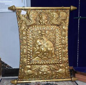 "31"" Tibet Old Silver Gold Gilt Dragon Phoenix Elephant Beast Monkey Fokan Shrine"