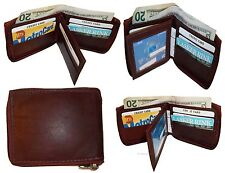 Men's Zip around wallet Leather wallet Center piece 9 credit card ID 2 Billfolds