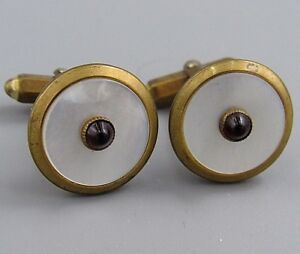Excellent Mens Ruby Red Mother of Pearl CUFFLINKS Costume Vintage Jewelry F32