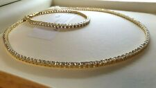 Yellow gold finish created diamond Tennis necklace and bracelet 3mm stones