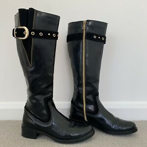 Clarks Black Patent Leather Riding Boots Karaoke Tune Suede Zip Buckle UK 5.5