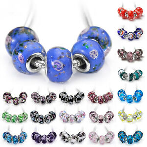 5/10pcs Murano Glass Beads Lampwork Fit European Charm Bracelet Necklace PWLB4