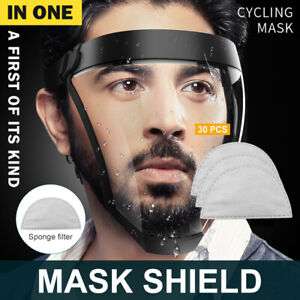 Active Shield Mask Cycling Sports Helmet Protective Transparent 30PCS Filters