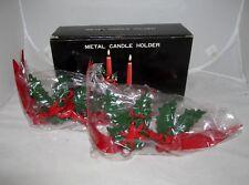 Set of 2 Christmas Ribbon Holiday Holly Metal Candle Holder Gift Set Home Decor