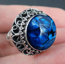 BLUE PAUA ABALONE SHELL & 925 Sterling Silver Ring Jewellery, Size L-UK, 6-USA