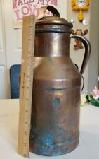 "Vintage 13.5"" Copper Milk Jug Container Can 4 Qts Green Glen Superior St. Paul"